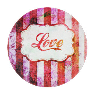 Pink Love with Stripes Cutting Board