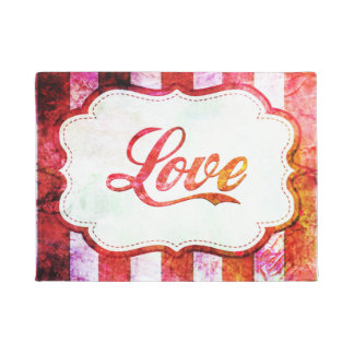 Pink Love with Stripes Doormat