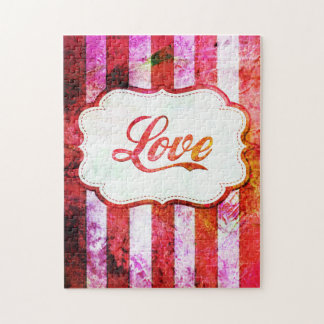 Pink Love with Stripes Jigsaw Puzzle