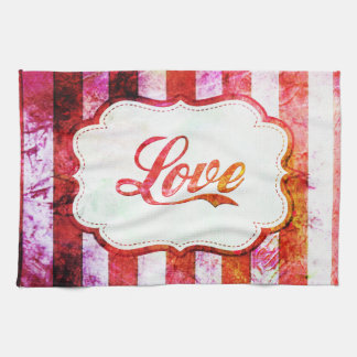 Pink Love with Stripes Kitchen Towel