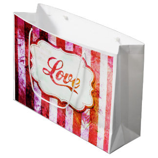 Pink Love with Stripes Large Gift Bag