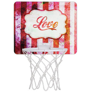 Pink Love with Stripes Mini Basketball Hoop