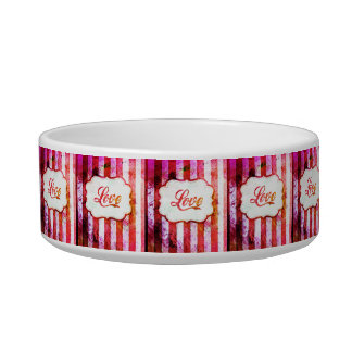 Pink Love with Stripes Pet Water Bowl
