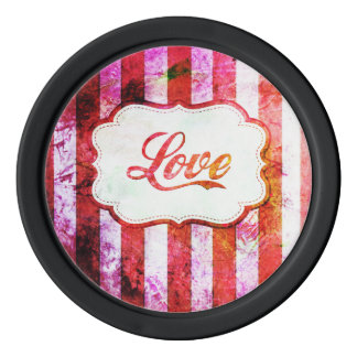 Pink Love with Stripes Poker Chips
