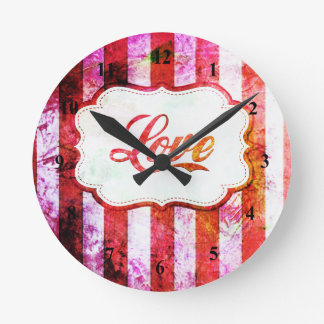 Pink Love with Stripes Round Clock