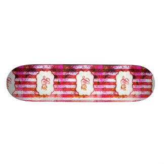 Pink Love with Stripes Skateboard Decks