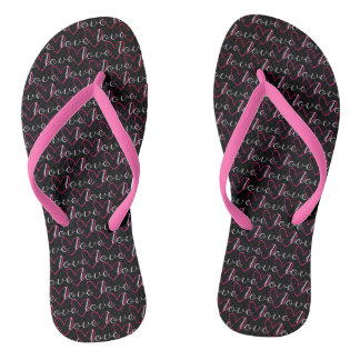 Pink Love Word Pattern Black Trendy Stylish Girly Flip Flops