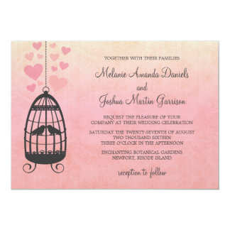 Pink Lovebirds Birdcage Wedding Card