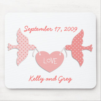 Pink Lovebirds Mouse Pad