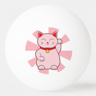 Pink Lucky Cat Ping Pong Ball