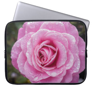 Pink Macro Rose with Raindrops Laptop Sleeve