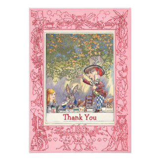 Pink Mad Hatter s Wonderland Tea Party Thank You Custom Announcements