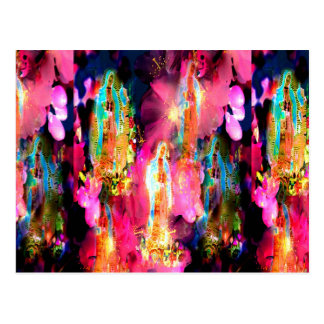 PINK MADONNA OF GUADALUPE IN CHERRY BLOSSOMS POSTCARD