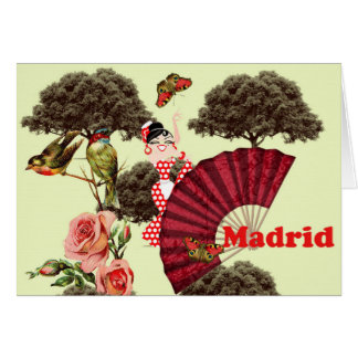 Pink Madrid card, small birds and a fan Card