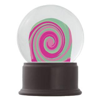 Pink, Magenta, Green & Mint Green Twirl Snow Globe