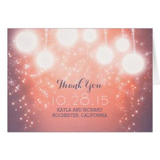 pink magic lights - lanterns wedding thank you card
