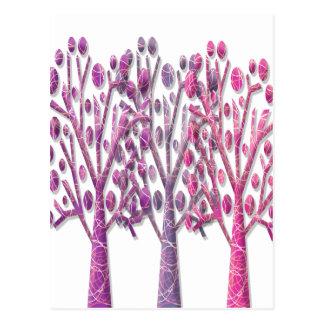 Pink magical trees postcard