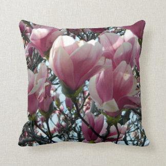 Pink Magnolia Flower Pillow