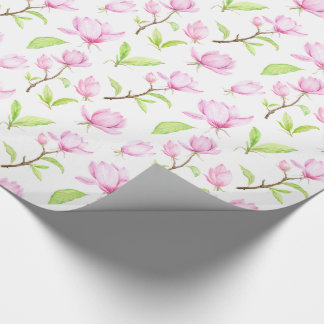 Pink Magnolia Flowers Wrapping Paper