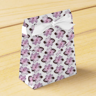 Pink Magnolia Motif on White Ribbon Favor Box