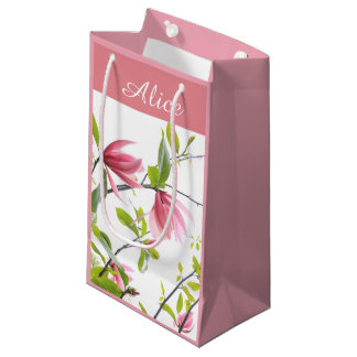 Pink magnolia personalized gift bag
