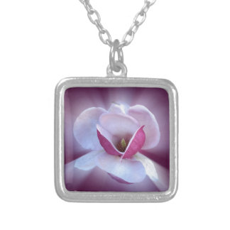 pink magnolia shades silver plated necklace