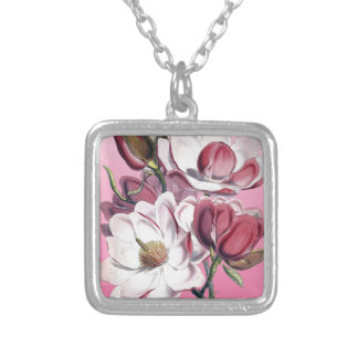 Pink Magnolia Silver Plated Necklace