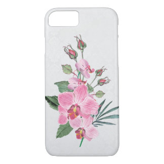 pink magnolia watercolor bouquet on damask Case-Mate iPhone case