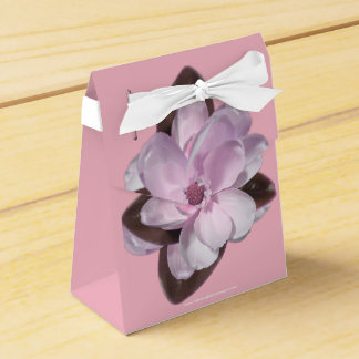 Pink Magnolia with White Ribbon on Pink Favor Box
