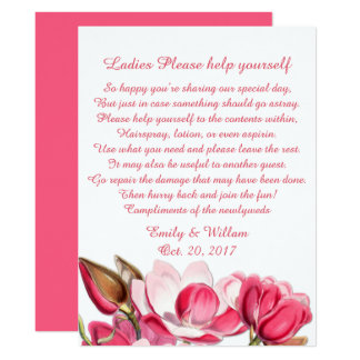 Pink Magnolias Ladys Wedding Basket Sign Card