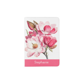 Pink Magnolias Personalized Passport Holder