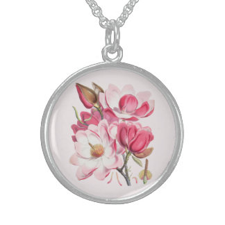 Pink Magnolias Sterling Silver Necklace