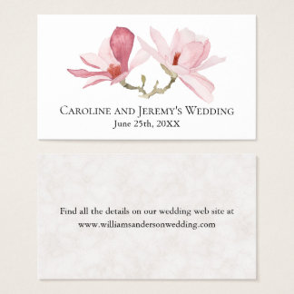 Pink Magnolias Wedding Details Business Card