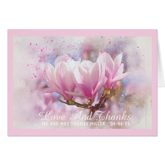 Pink Magnolias Wedding Thank You Note Card