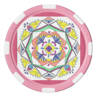 Pink mandala ceramic poker chips
