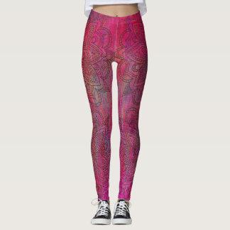 Pink Mandala Distressed Fabric Texture Leggings