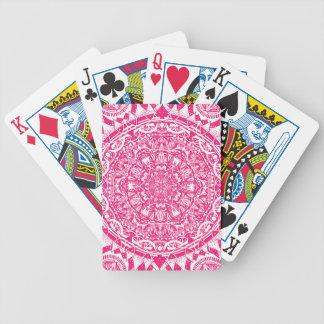 Pink mandala pattern bicycle playing cards