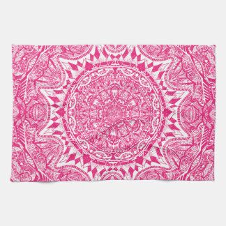 Pink mandala pattern kitchen towel