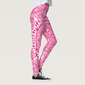 Pink mandala pattern leggings