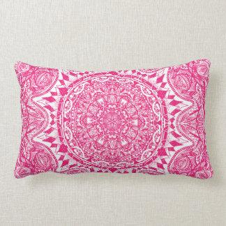 Pink mandala pattern lumbar pillow