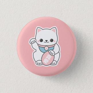 Pink Maneki Neko 1 Inch Round Button