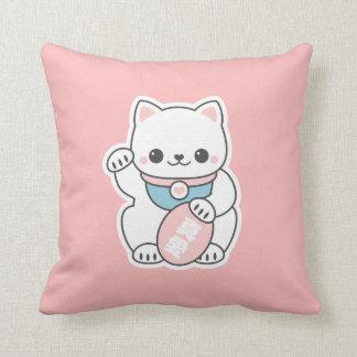 Pink Maneki Neko Throw Pillow