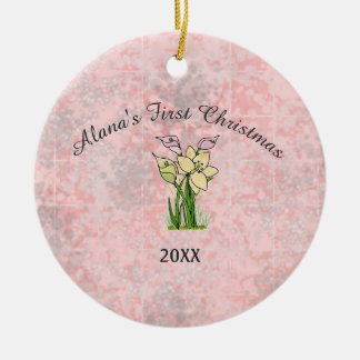 Pink Marble Baby First Christmas Ceramic Ornament