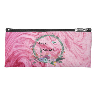 pink marble beautiful texture pattern personalize pencil case