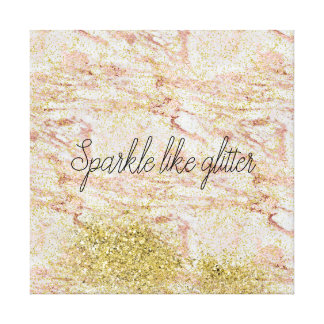 Pink Marble Gold Confetti Faux Glitter Canvas Print