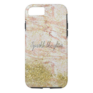 Pink Marble Gold Confetti Faux Glitter iPhone 8/7 Case