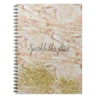 Pink Marble Gold Confetti Faux Glitter Notebooks
