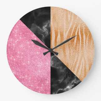 Pink Marble Gray Glitter Black Luxury Coral Zebra Large Clock