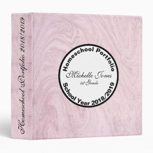 Pink Marble Homeschool Portfolio Binder
