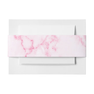 Pink  Marble Invitation Belly Band